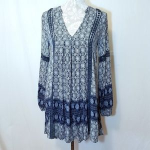 En Creme Boho Swing Dress Circular Print Sz S